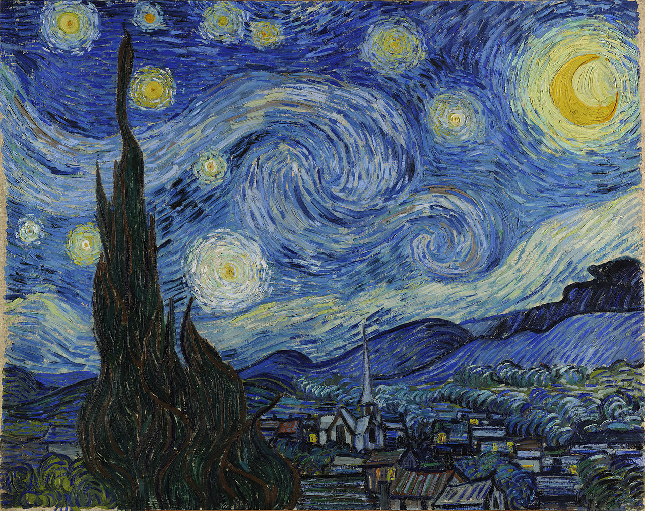Vincent Van Gogh's famous artwork titled 'The Starry Night'
