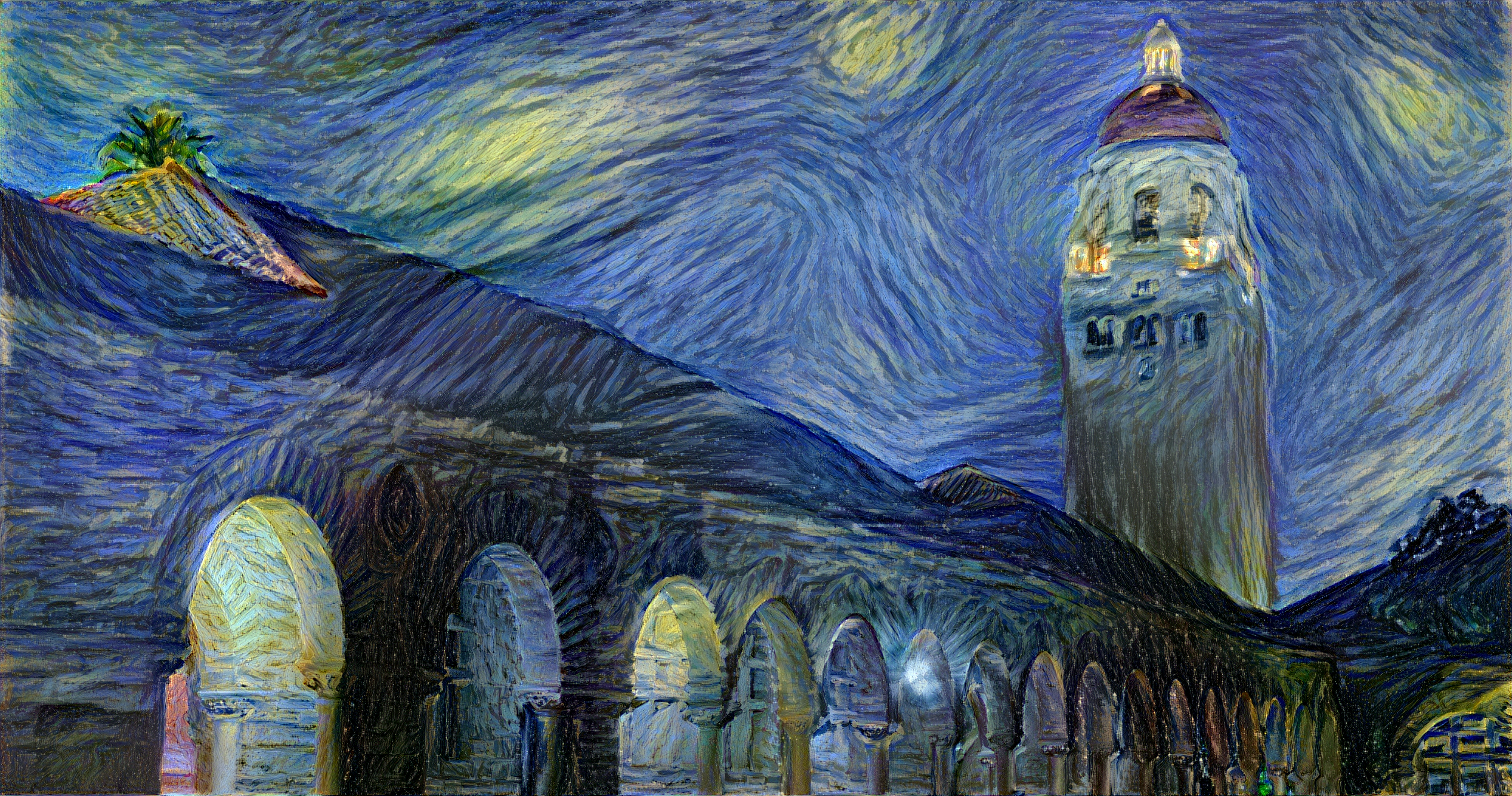 A synthetic image generated by Justin Johnson that depicts Stanford University's Hoover Tower using the style of Vincent van Gogh's 'The Starry Night'
